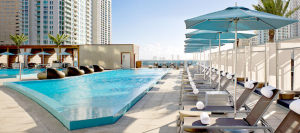 The pool at the Epic Hotel in Brickell, Miami.
